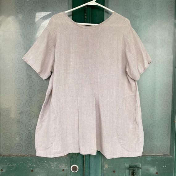 FLAX Engelhart Basic 1997 Delightful Dress -S/M- Natural Hank Linen