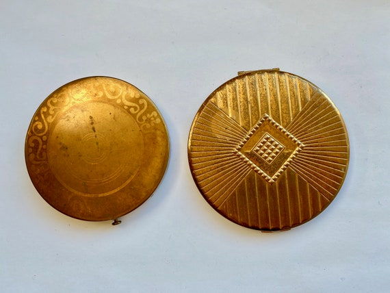Pair of Vintage Round Mirror and Powder Compacts by Columbia Fifth Avenue and Max Factor Hollywood