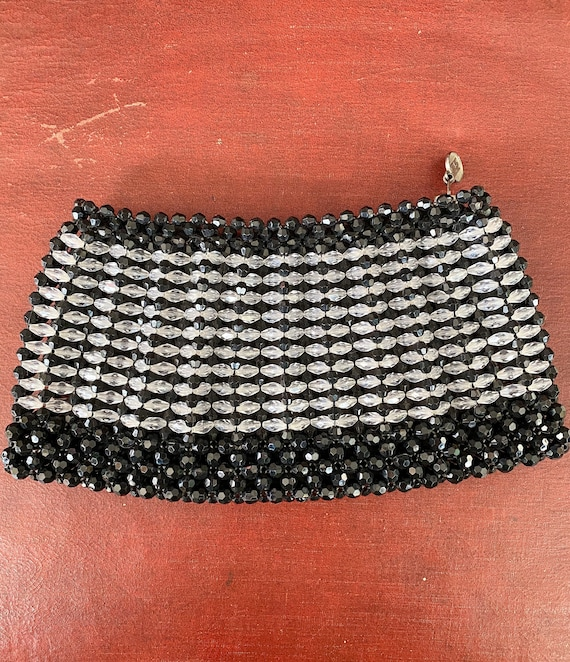 Vintage Zippered Black and Crystal Bead Clutch