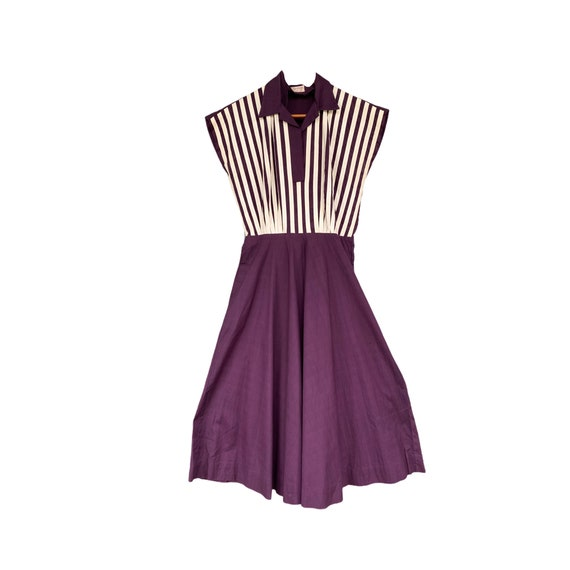 1940s Surrey Classic Vintage Rockabilly Purple and White Dress