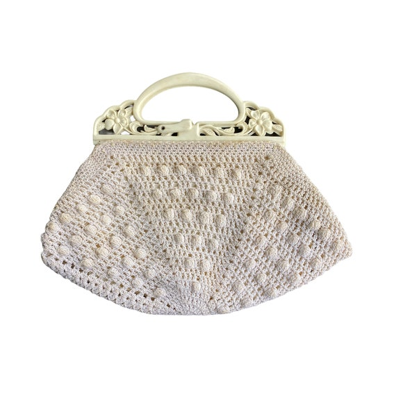 Vintage Ivory Gimp Corde Crocheted Handbag with Floral Handle
