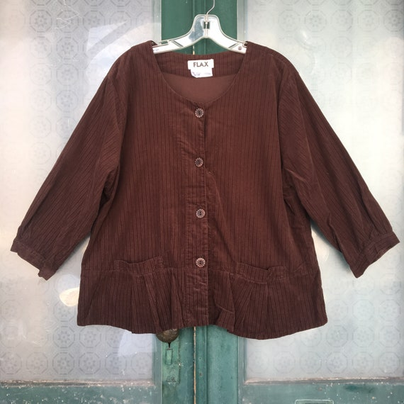 FLAX Engelhart Autumn 2006 Tempting Top -L- Java Brown Cotton Corduroy