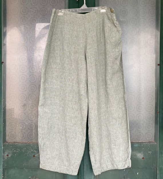 FLAX Side Button Pants -L- Yarn-Dyed Green Linen