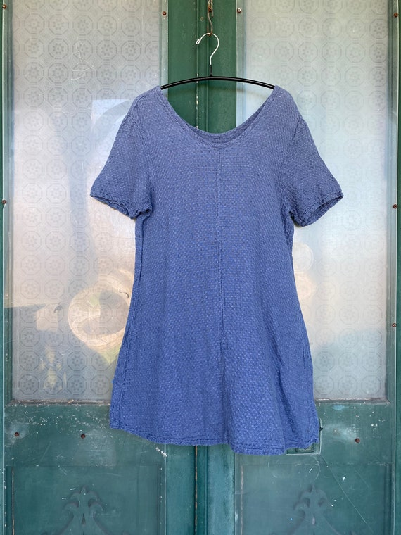 FLAX by Jeanne Engelhart Basic Accents 2003 Fitted Tunic -S- Blue Weave Linen
