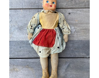 """Vintage Cloth Body Doll from Poland 13"""""""