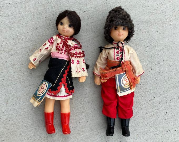 Pair of 1980s Vintage Soviet Dolls