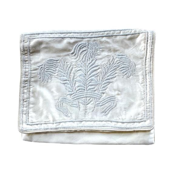 Ila Hand Made Vintage Embossed Satin Handkerchief Lingerie Folder Holder