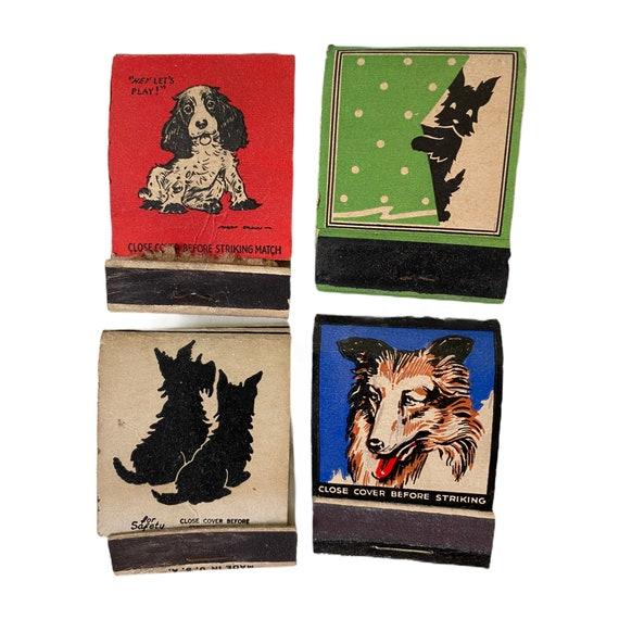 Lot of 4 Dog Vintage Matchbook Covers