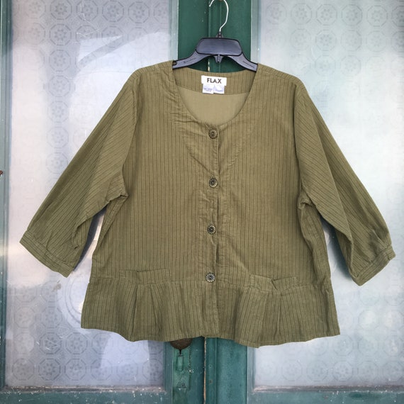 FLAX Engelhart Autumn 2006 Tempting Top -L- Rosemary Green Cotton Corduroy