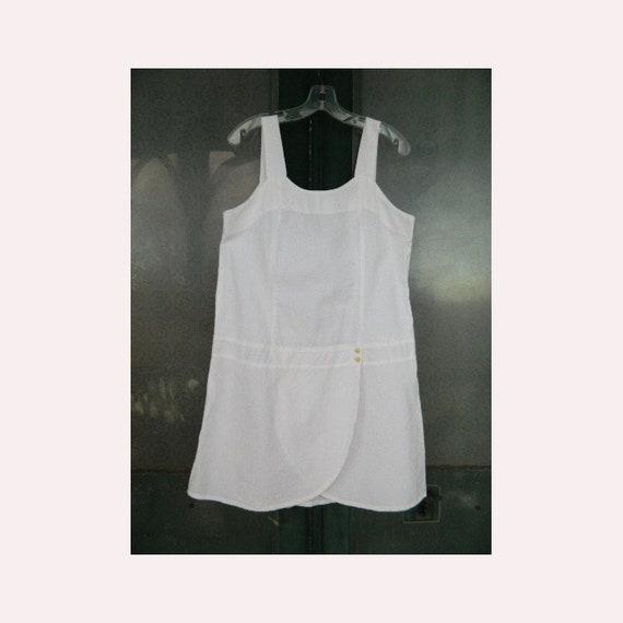 FLAX Engelhart Retro Swing Shift Short Dress-S- White Stripe Cotton