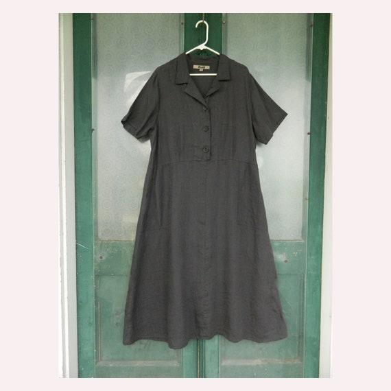 FLAX Engelheart Retro 1940s Dress -L- Dark Gray Linen