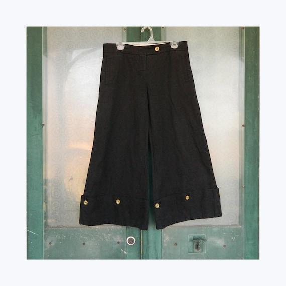 Taikonku Wide Leg Crop Pant -8- Black Cotton Twill