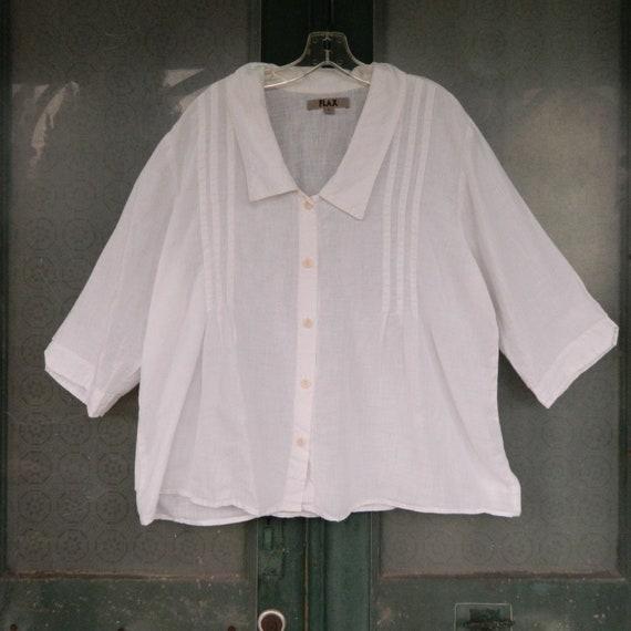 FLAX Engelhart Sweet 3/4 Sleeve White Linen Blouse -L-