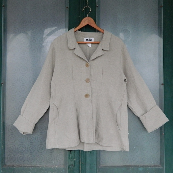 FLAX Engelheart Jacket with Pockets -S- Natural Linen