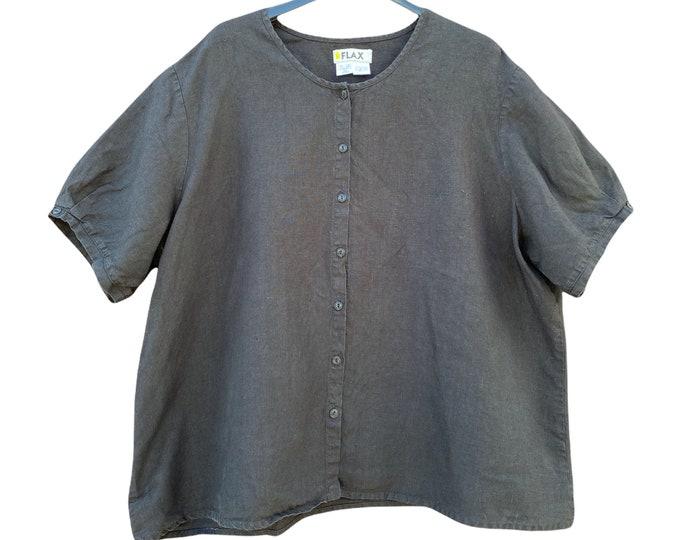 FLAX Designs Neutral 2008 Short Sleeve Blouse -2G/2X- Black Linen