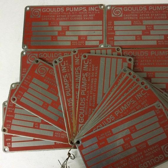 Lot of 30 Vintage Goulds Pumps Seneca Falls Metal Product Badges