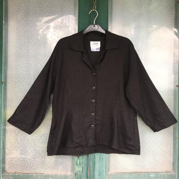 FLAX Basic 2001 Long-Sleeve Shapely Blouse -M- Black Light Weight Linen