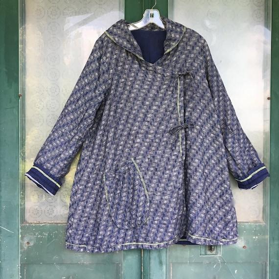 FLAX Engelhart Soleil 2005 Reversible Coat -S- Yarn-Dyed Navy Blue Drops Linen