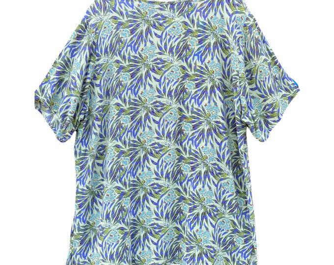FLAX Engelhart Thinking Tropics 2001 Short-Sleeve Tee -M- Sage Fern Rayon