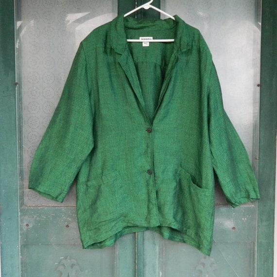 Tamotsu Man Tailored Blazer -L- Green with Black Jacquard Linen