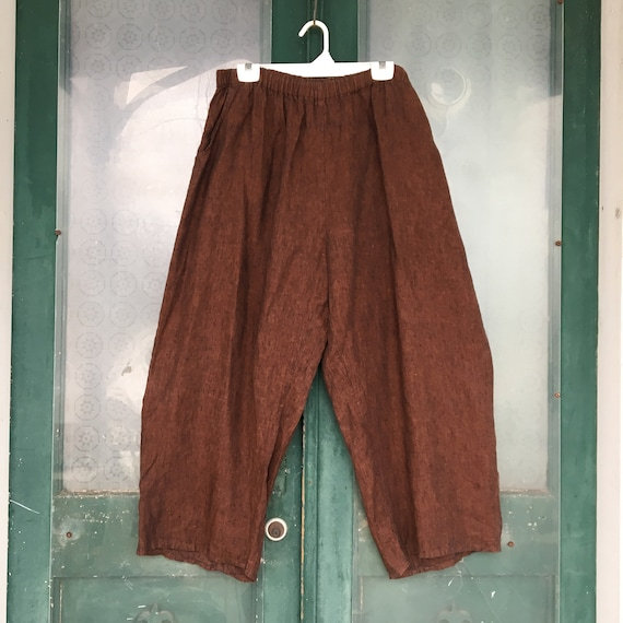 FLAX Engelhart Flood Pants -2G/2X- Yarn-Dyed Brown Linen