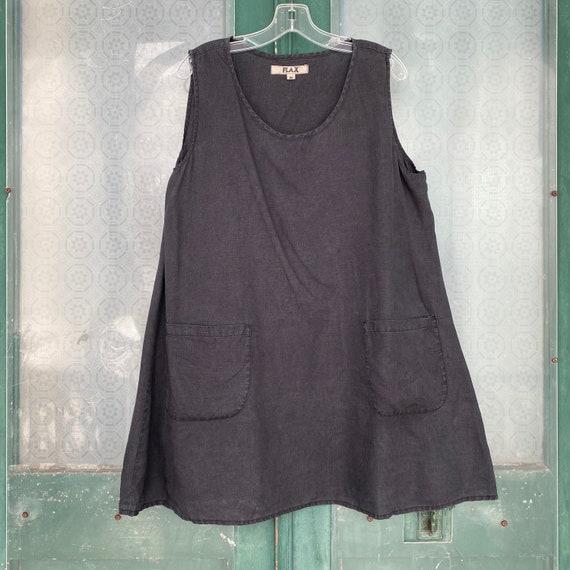 FLAX Designs Sleeveless Pocket Tunic -M- Dark Gray Linen
