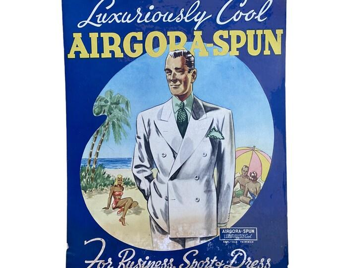 Vintage Retail Store Menswear Advertising Poster Board Airgora Spun