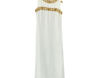 1970s Mod Full Length Evening Gown with Beading