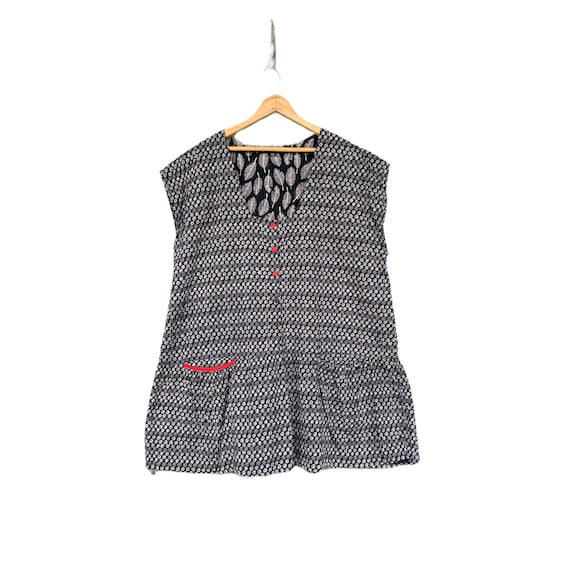 Gudrun Sjödén Sleeveless Tunic -XL- Scribble Dots Black Cotton Viscose