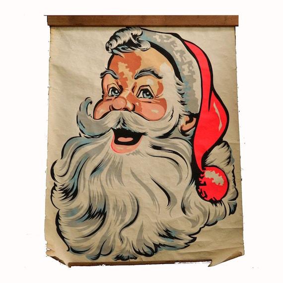 Vintage Big Santa Store Window Poster 1960