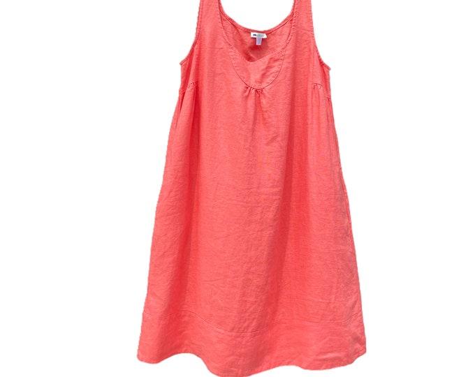 Garnet Hill Linen Dress -6- Coral