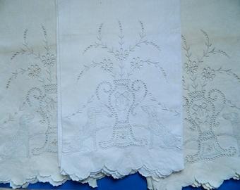 Vintage Elaborate Dog & Grecian Urn Embroidered Linen Tea Towels (3)