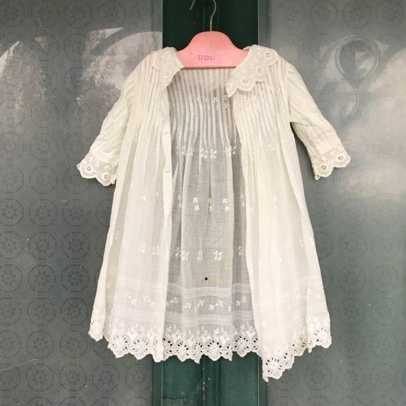 Vintage Infant Dress White Cotton Eyelet