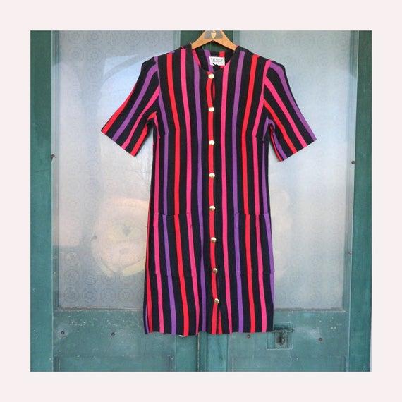 Vintage Models Coat Dress -S/M- Black/Red/Pink/Purple Stripe Knit