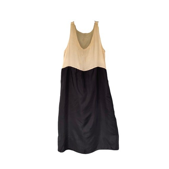 Vintage 1920s Ivory and Black Slip Dress