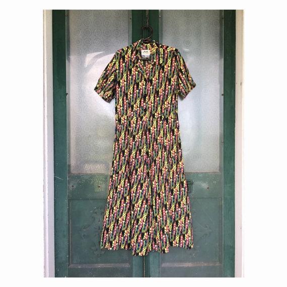 FLAX Engelhart Thinking Tropics Short-Sleeve Retro Dress -S- Painted Peas Rayon