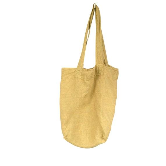 FLAX Engelhart Long Tote Bag - Yarn-Dyed Gold/Green Linen