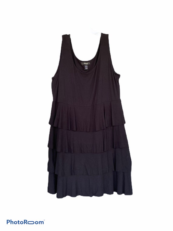 Style & Co Sleeveless Pullover Tiered Dress -1X- Black Rayon/Spandex NWT