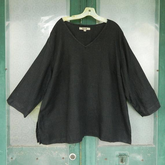 FLAX Engelheart Long Sleeve Pullover Tunic -3G/3X- Black Medium Weight Linen