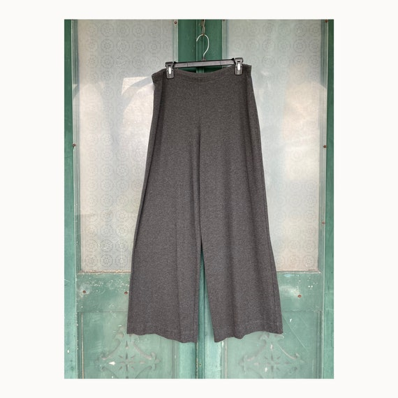 J. Jill Wide Leg Pants -L- Charcoal Gray Rayon Spandex