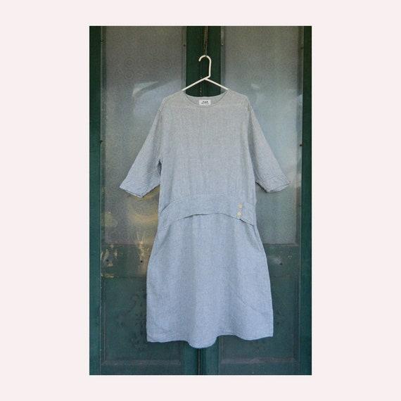 FLAX Engelheart Twenties Theme Dress -S- Antique Silver Linen