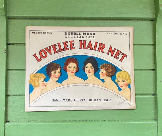Vintage 1920s Lovelee Hair Net Package and Product