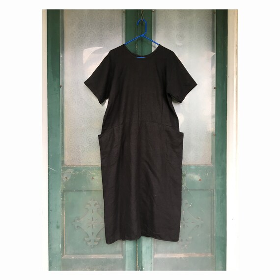 FLAX Engelheart Basic 1996 Right Angle Dress -M- Black Linen