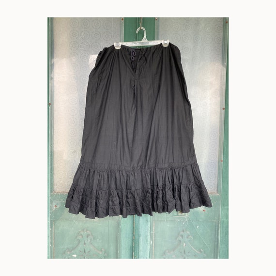 Vintage Black Cotton Sateen Skirt with Tiered Border