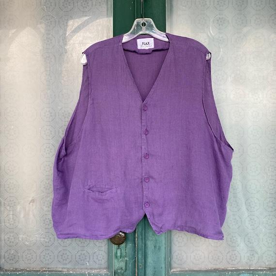 FLAX Engelhart Basic 1997 Best Butt Vest -O/S- Amethyst Handkerchief Linen