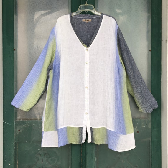 FLAX Engelhart V-Neck Button-Front Tunic Jacket -3G/3X- White Blue Green Linen