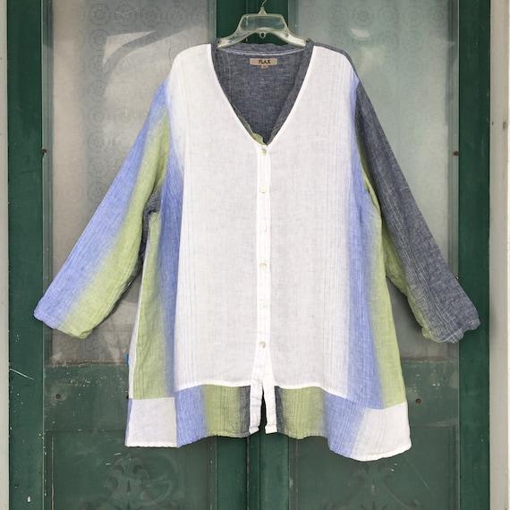 FLAX Engelhart V-Neck Button-Front Tunic Jacket -3G/3X- White Blue Green Linen
