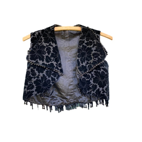 Victorian Cropped Floral Velvet Beaded Vest