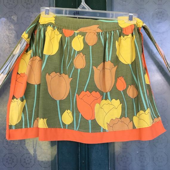 Vintage MCM Bright Orange Tulip Reversible Apron