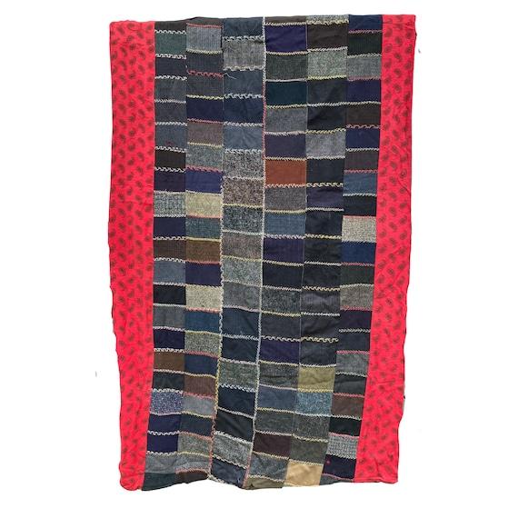 "Vintage Sorta-Crazy Quilt Wool & Flannel 82"" x 43"""